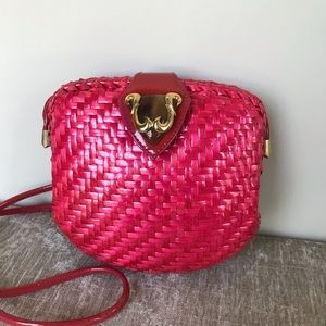 Beautiful Rodo pink glazed wicker purse
